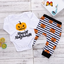 Girls Boys Set Halloween Alphabet Striped Pumpkin Print Triangle Tops Bodysuit Soft Cotton Pants Cute Two-Piece Set