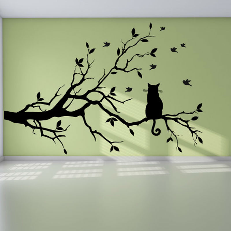 DCTOP Modern Living Room Vinyl Wall Sticker Cat On The Tree Branch With  Birds Removable Waterproof
