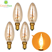 1Set Gold Tint E14 Edison LED Filament Bulb C35 Vintage Spiral Lamp Warm 2200K Soft Flexible