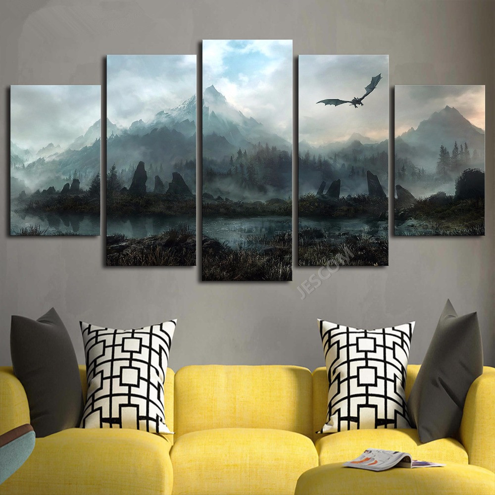 Frame Canvas Painting 5 Panels Skyrim Wall Art Modern Home