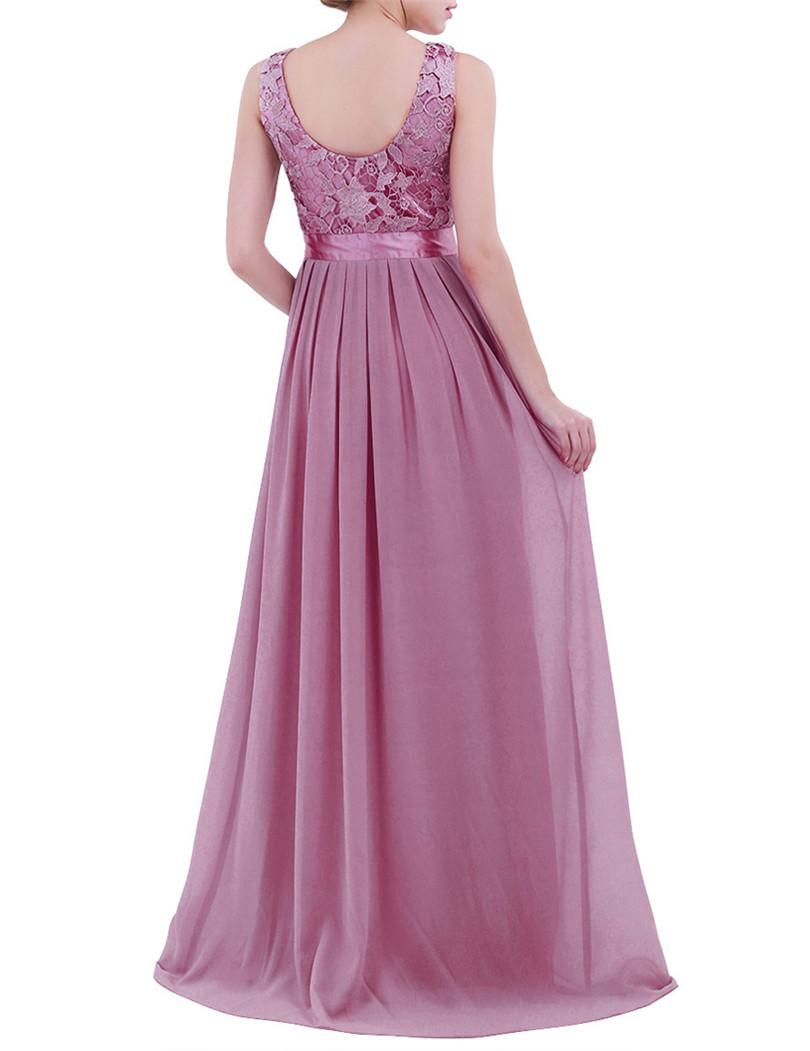 Elegant Chiffon Embroidered Sleeveless Long Bridesmaid Dress