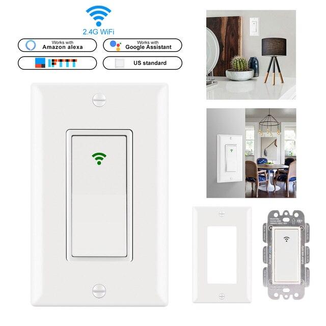 Inteligentny włącznik WIFI US wtyczka 2000 W ścianie W inteligentny przełącznik telefon zdalnego sterowania kompatybilny z Alexa asystent Google IFTTT
