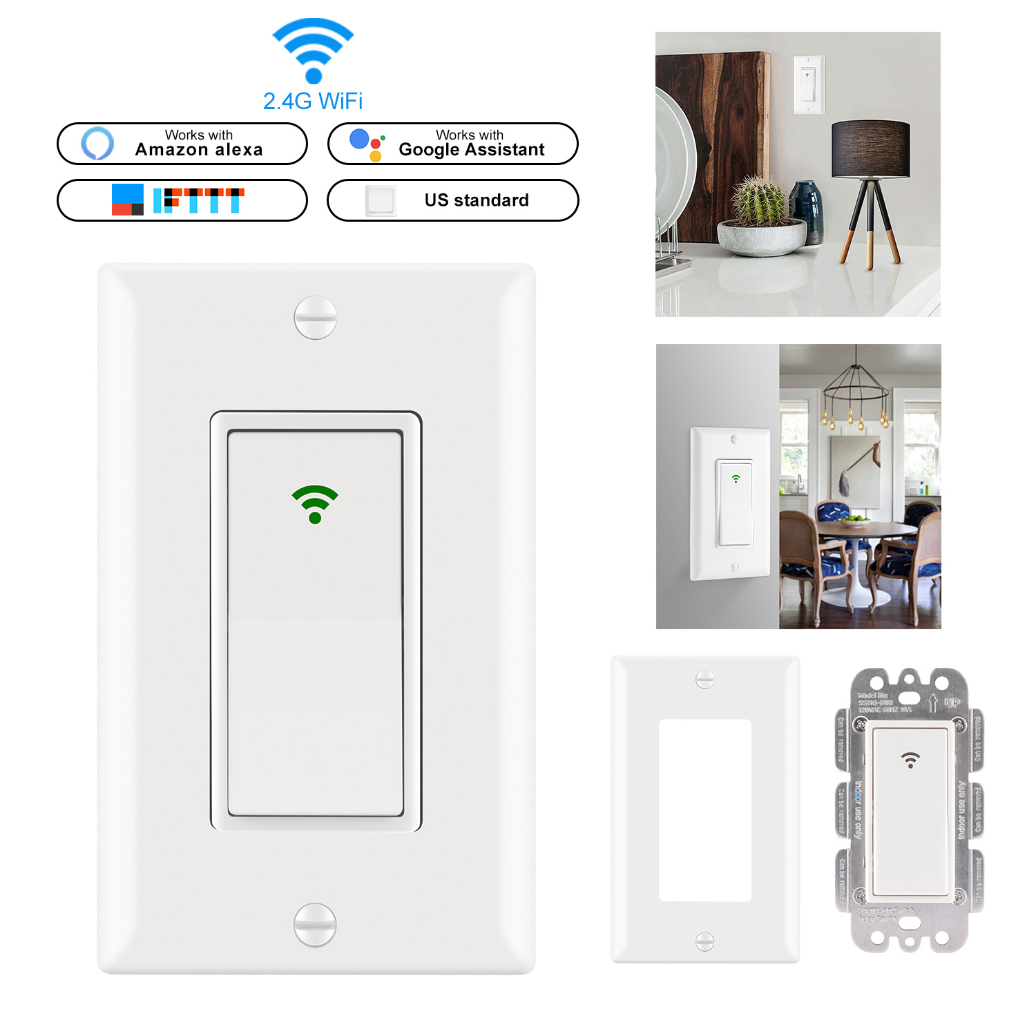 Smart WiFi Switch US Plug 2000W Wall-In Smart Switch Phone Remote Control Compatible With Alexa Google Assistant IFTTTSmart WiFi Switch US Plug 2000W Wall-In Smart Switch Phone Remote Control Compatible With Alexa Google Assistant IFTTT
