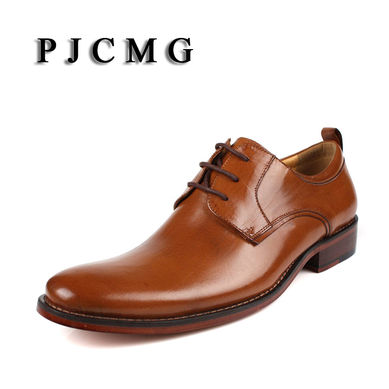 PJCMG Brand Mens Dress Genuine Leather Black/Brown Lace-up Pointed Toe Formal Business Office Men Flats Shoes Big Size 38-46 top quality crocodile grain black oxfords mens dress shoes genuine leather business shoes mens formal wedding shoes
