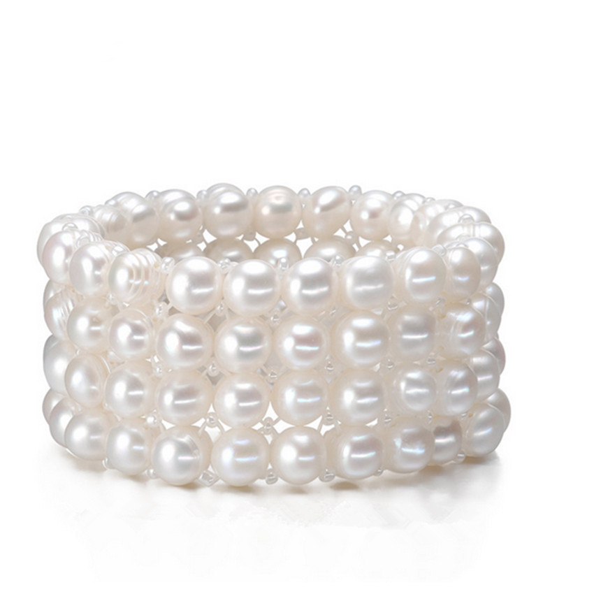 SNH Real Natural Freshwater Pearl Bracelet 9 10mm 4rows Genuine Cultured Pearl Bracelet With Fres Shipping