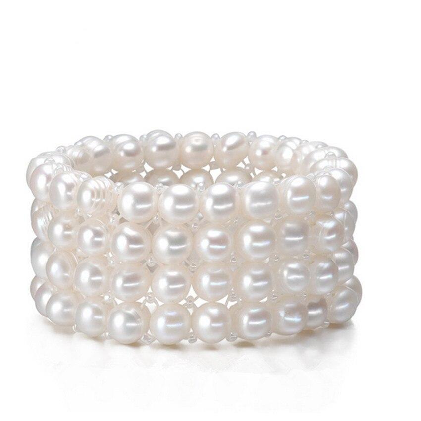 Buy SNH Real Natural Freshwater Pearl Bracelet 9-10mm 4rows jewelry bracelet Genuine Cultured Pearl fine Bracelet women bracelet for $13.80 in AliExpress store