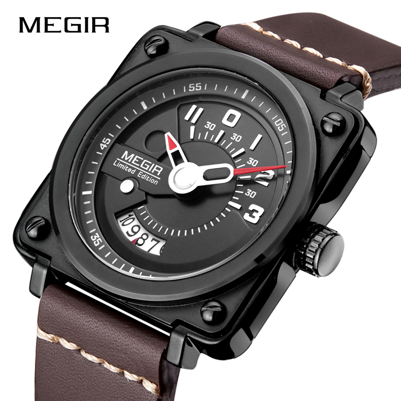 MEGIR Men's Military Sports Wristwatches Fashion Luxury Quartz Watches Men Top Brand Leather Watch Clock Male Relogio Masculino 2017 new top fashion time limited relogio masculino mans watches sale sport watch blacl waterproof case quartz man wristwatches
