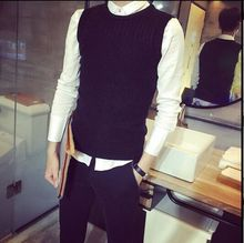 Hl2 male autumn o-neck sweater vest fashion sleeveless sweater male slim woven vest