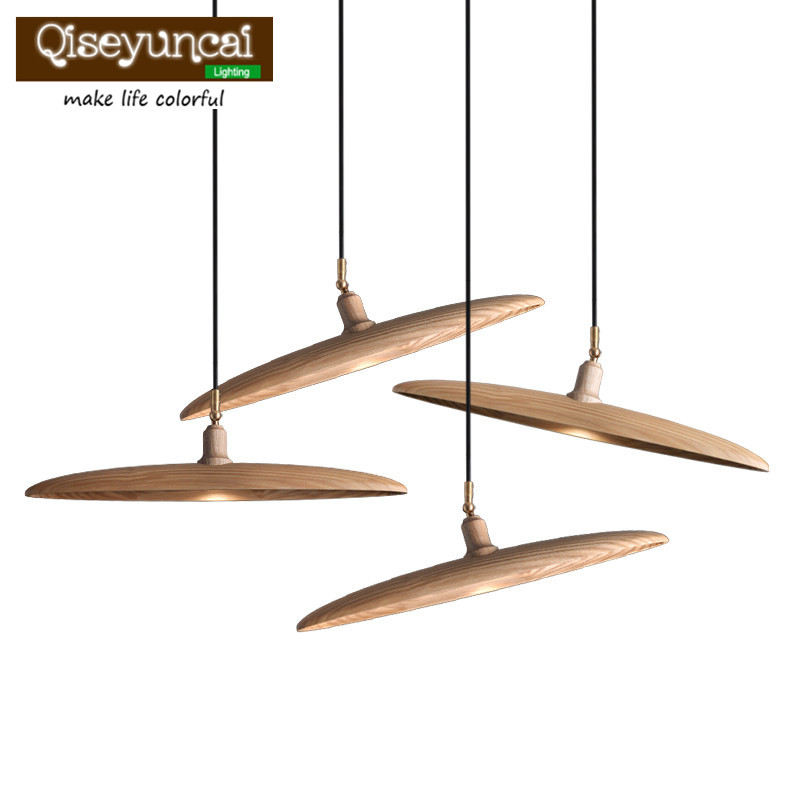 Qiseyuncai Modern simple solid wood art carving Fishing line Chandelier restaurant living room creative lighting ring chandelier led american village living room head simple restaurant solid wood circle new cl mz133