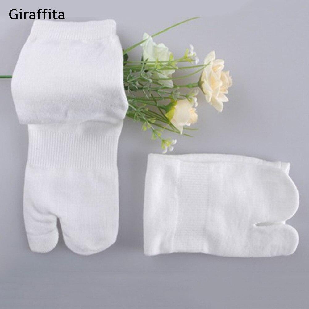 2018 Men and Women Summer Bamboo Fiber Two Finger Socks Black Kimono Flip Flop Sandal Split White Toe Socks