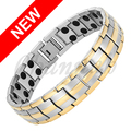 Channah Men 2-Tone Silver Gold Bangle 44pcs Magnets Healing Jewellery Stainless Steel Magnetic Bracelet Charm Free Shipping