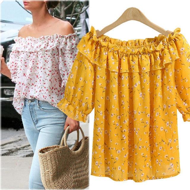 e0b82746604 Fashion Sexy Women Off Shoulder Tops Blouses Chiffon Floral Print Plus Size Blusa  Feminina Summer Party