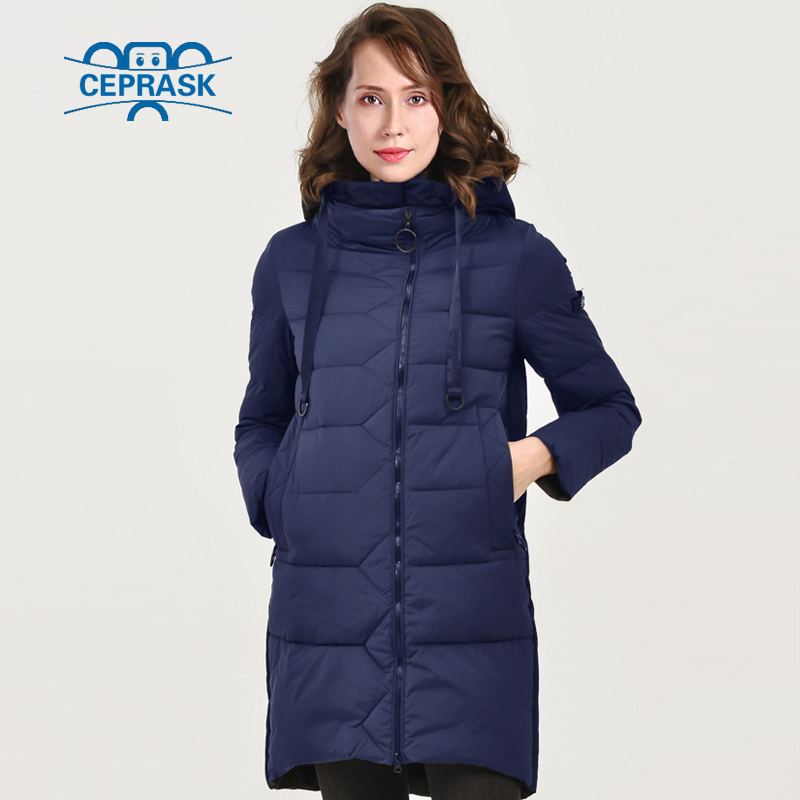 CEPRASK 2018 Nouvelle Collection Hiver Veste Bio peluches À Capuche Chaud de Femmes D'hiver manteau Parkas de style Européen Plus La Taille Longue chaude