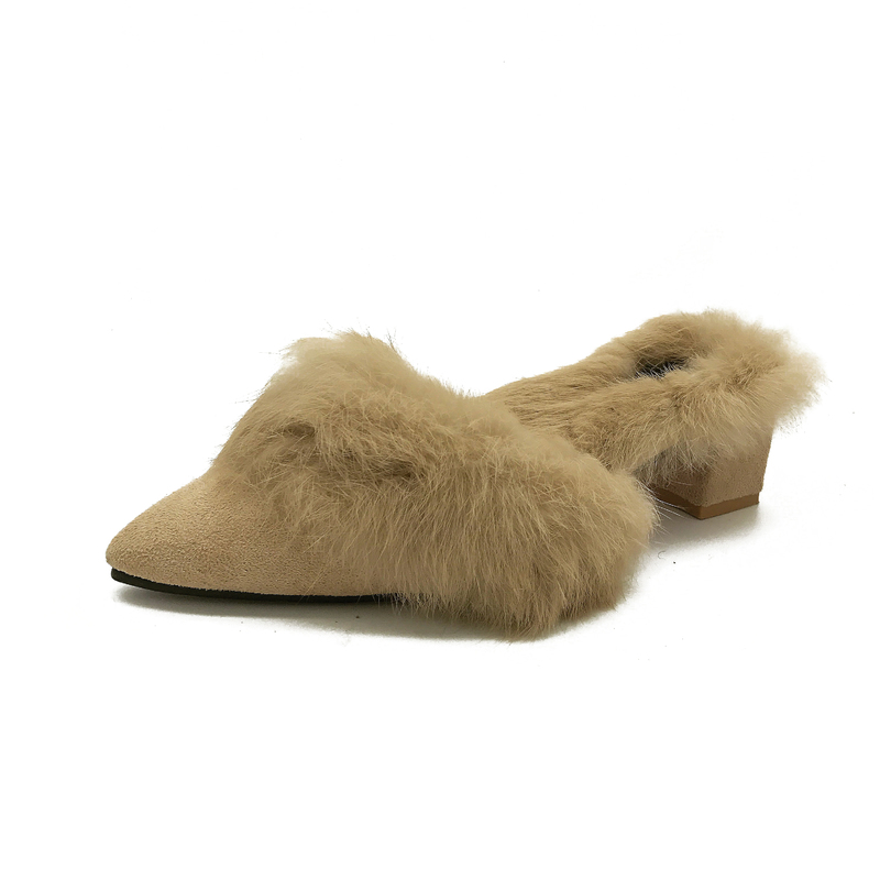 dd6ccf42b autumn winter fur slippers women pointed toe med heel sandals ladies rabbit  fur flock slides winter shoes ...