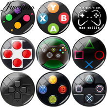 JWEIJIAO Wholesale 5pcs/Lot Black Game Controller DIY Glass Cabochon Dome Pictures Demo Flat Back Making Findings For Keychain(China)