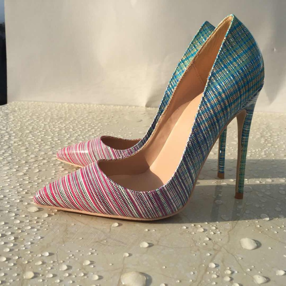 Keshangjia New Arrivals Rainbow Printed Leather Pumps For Women Pointed Toe Thin High Heels Gladiator Woman