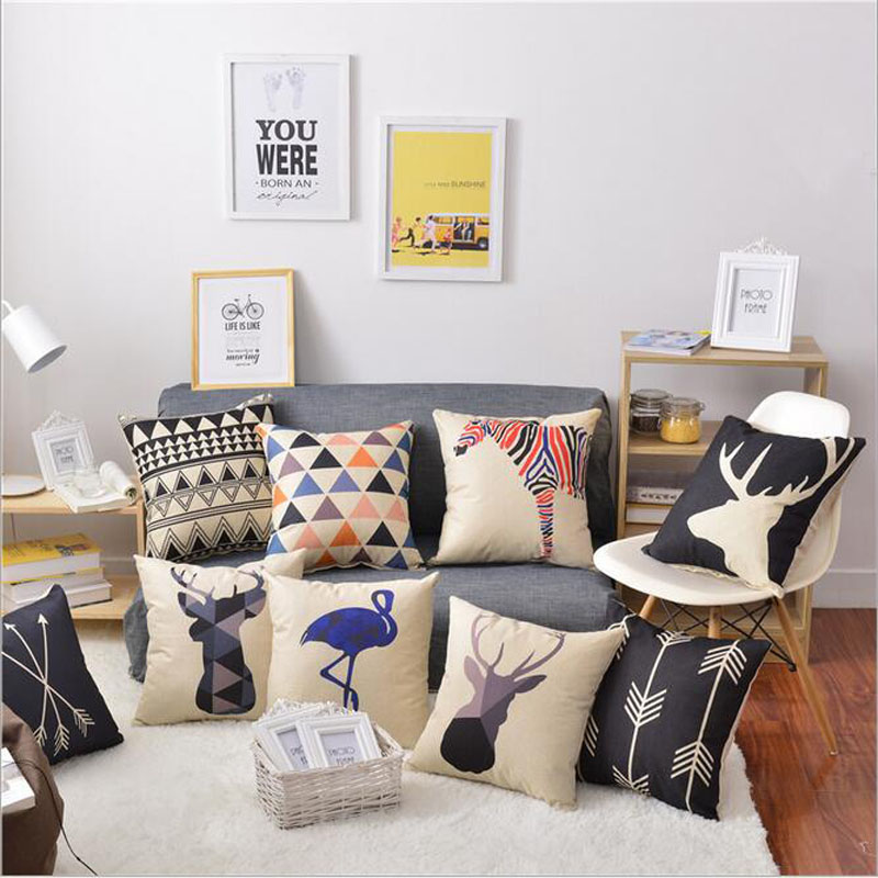 Geometric Cushion Cover Game of Thrones Cotton Linen Pillowcase Sofa Home Decorative Throw Pillows Funda Cojin Housse De Coussin