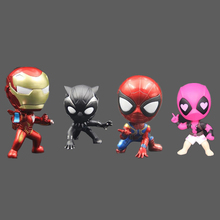 10 cm Marvel The Avengers Super Heroes Iron Man Spiderman Panther Deadpool Mini PVC Action Figure Toys Car Decoration Doll Toy
