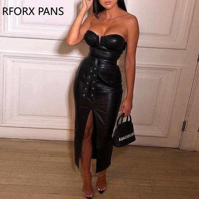 Solid Tube Slit Coated PU Dress Women Dress 1
