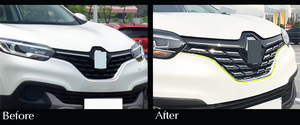 Image 2 - For Renault Kadjar 2016 2017 2018 2019 Front Mesh Grille Cover Trim Bonnet Garnish Molding Guard Protector Car Styling Stickers