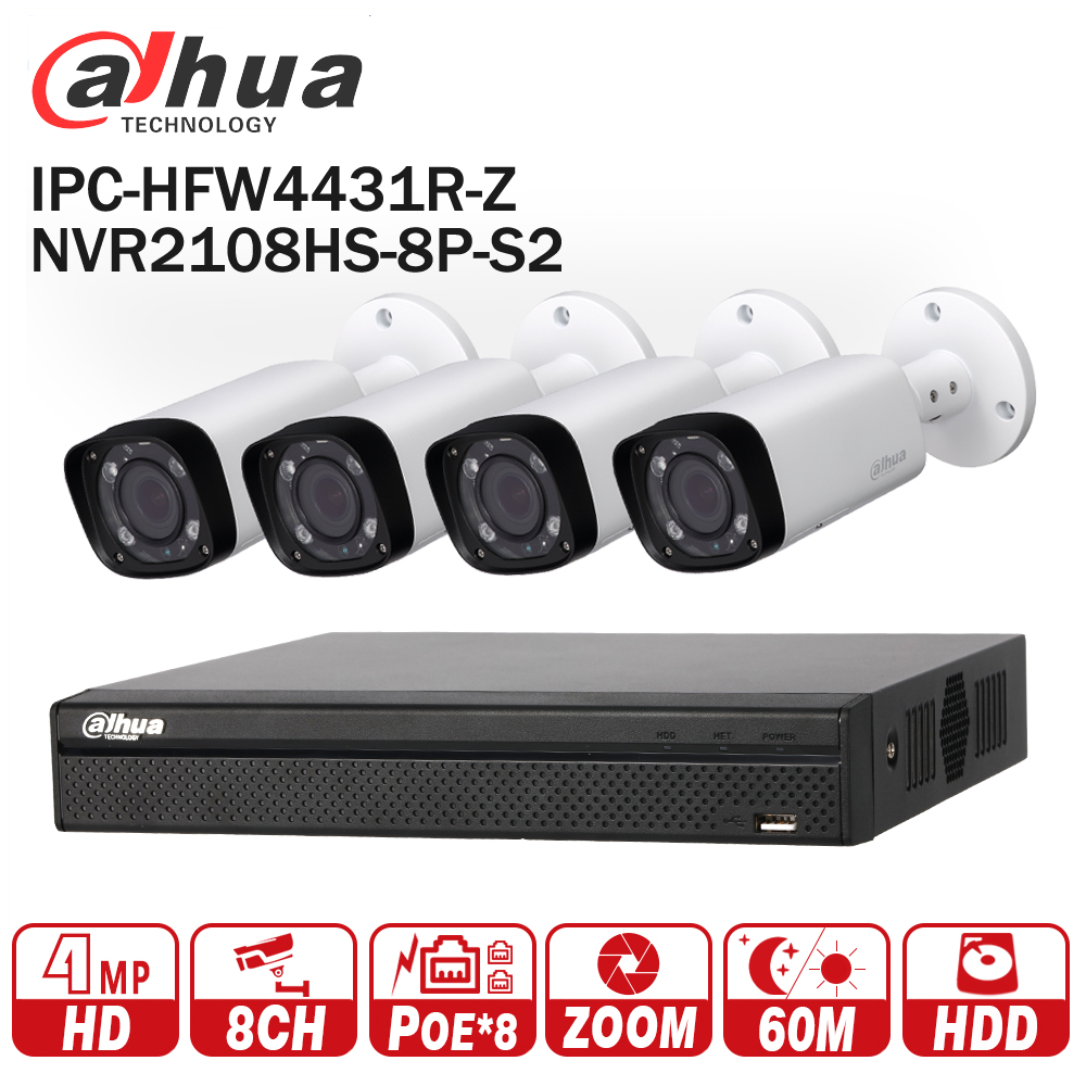 Dahua NVR видеонаблюдения Камера комплект NVR2108HS-8P-S2 моторизованный зум Камера IPC-HFW4431R-Z P2P наблюдения Системы легко установить