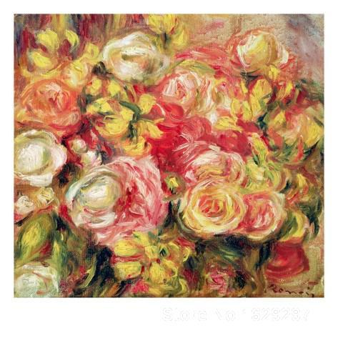 handmade canvas art paintings by Pierre Auguste Renoir Roses Red by Renior High qualityhandmade canvas art paintings by Pierre Auguste Renoir Roses Red by Renior High quality