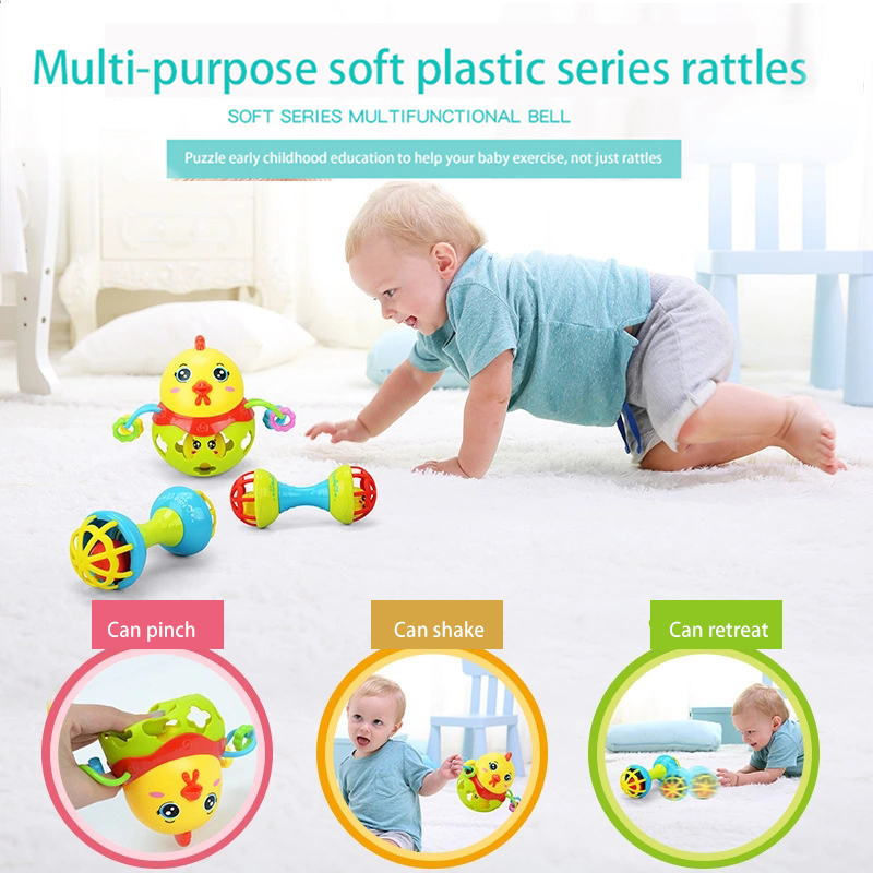 Baby Rattle Chicks Baby Funny Rattles Cartoon Animal Teether Ball Educational Toy Newborn Gift Toy Juguetes Educativos