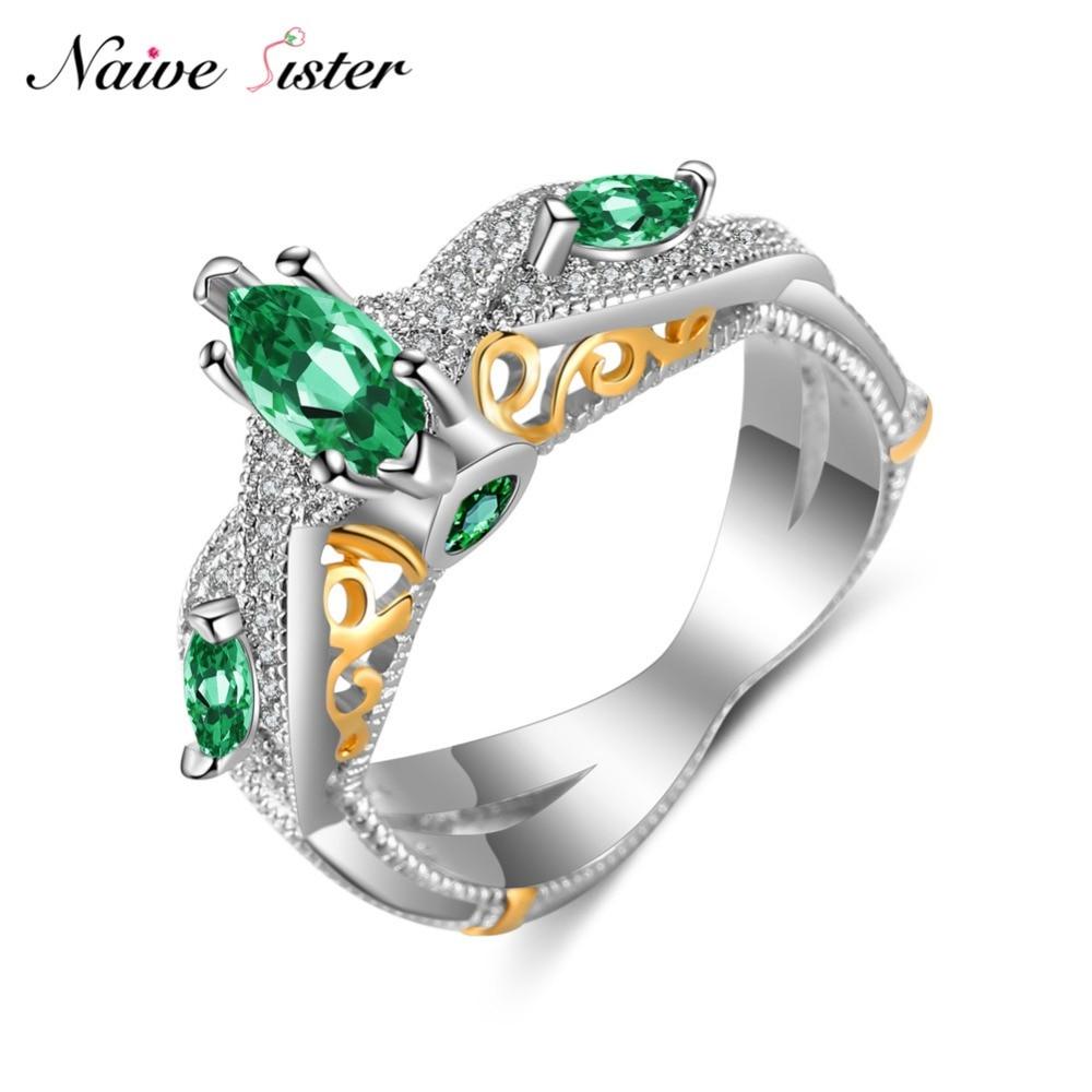 ᑐ2 тон роскошные женские свадебные кольца модные Зеленый камень ... 89aaf1ac89a