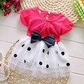 1-3 лет новорожденных девочек летнее платье хлопок материал Бесплатно доставка 2016 новый стиль dot лук детская одежда принцесса младенческой платья