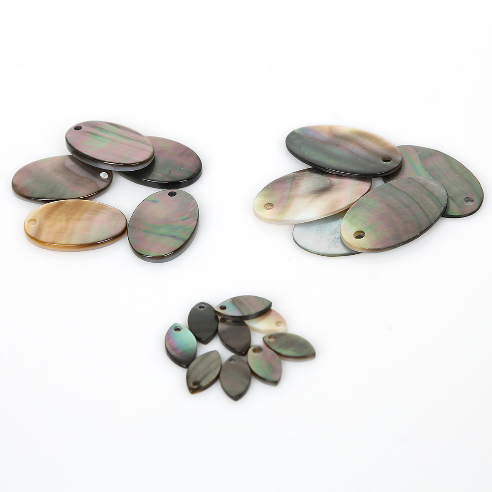 6PcsLot Wholesale Loose Beads  FLat Oval Shape Natural Shell Beads For  jewelry Making DIY Bracelet Necklace