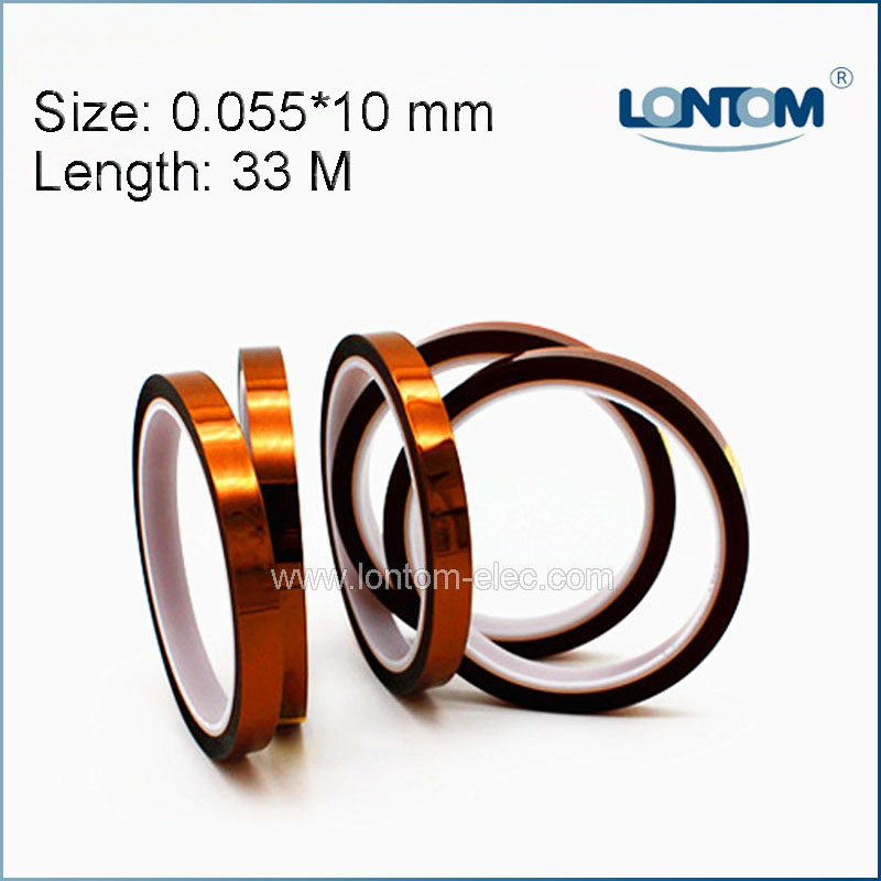 5 rolls 10mm width 33M Kapton Tape High Temperature Heat Resistant Polyimide free shipping 55mm x 33m 100ft kapton tape high temperature heat resistant polyimide fast ship