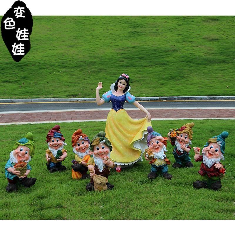 Outdoor Resin Garden Snow White And The Seven Dwarfs Figurine Cartoon Character Kindergarten Statue Home Decor Crafts Decoration