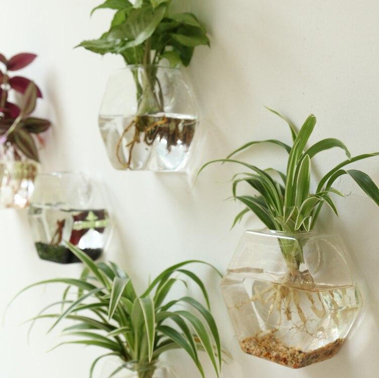 Well-liked Mkono 2 Pcs Wall Mounted Glass Vase Wall Hanging Planter Plant  OX43