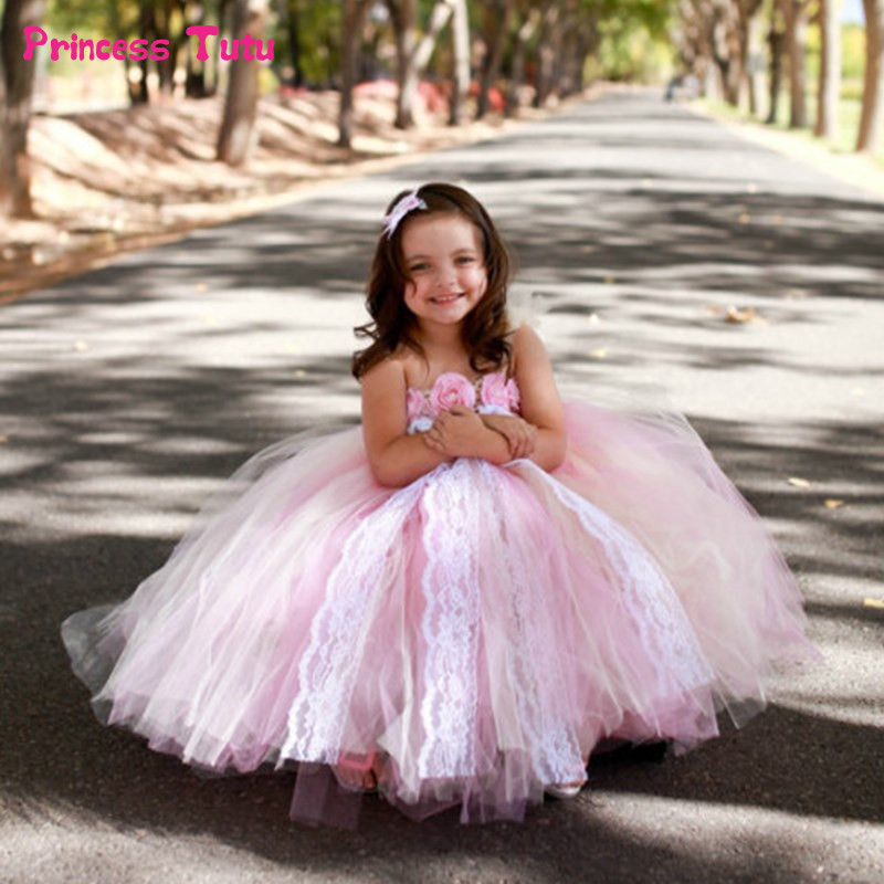 Lace Tulle Flower Girl Dresses Light Pink Girls Pageant Wedding Ball Gown Dresses Kids Girl Princess Party Tutu Dress Vestidos
