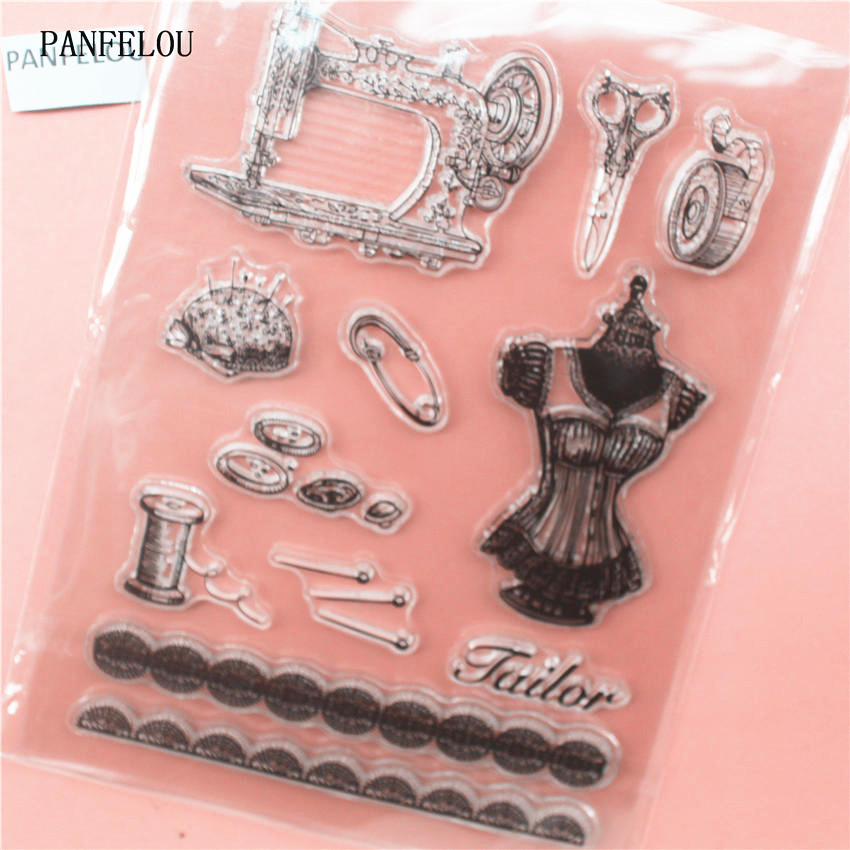 PANFELOU sewing machine Transparent Clear Silicone Stamp/Seal for DIY scrapbooking/photo album Decorative clear stamp sheets about loving heart design transparent clear silicone stamp for diy scrapbooking photo album clear stamp christmas gift ll 278
