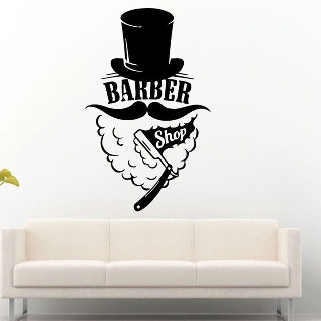 Barber Shop Logo Wall Sticker Window Haircut Vinyl Wall Decal Hat