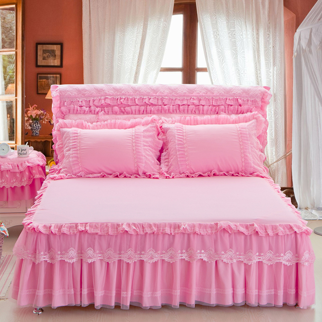 Free Shipping 3pcs Princess Lace Pink Purple Beige S Bed Skirt Full Queen King