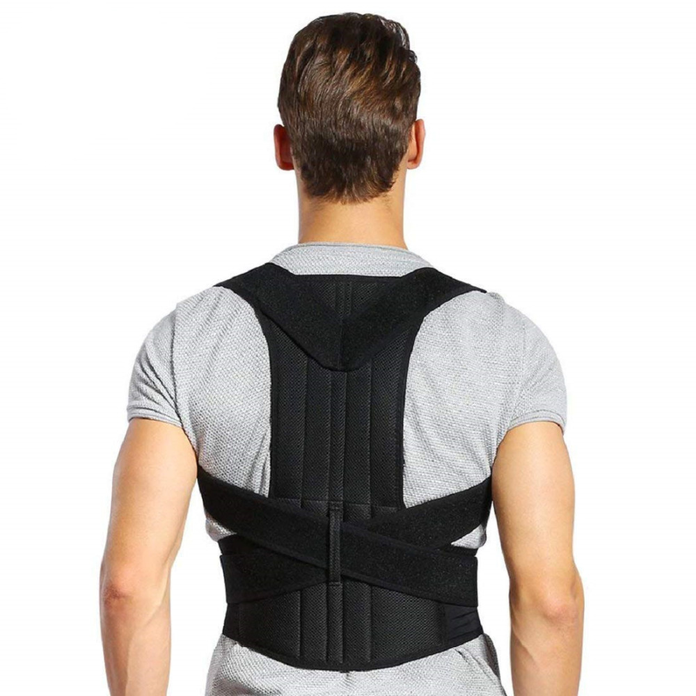 Male Female Adjustable Posture Corrector Shoulder Back Brace Back Strap Straight Corrector Holder Back Belt Lumbar Support Black