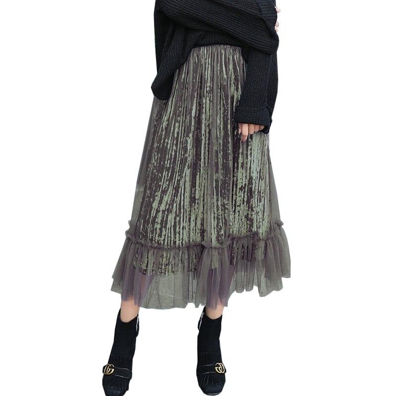 Net Yarn Velvet Mesh Skirts Womens Korean Fashion Elegant High Waist Pleated Tulle Skirt 2016 Autumn