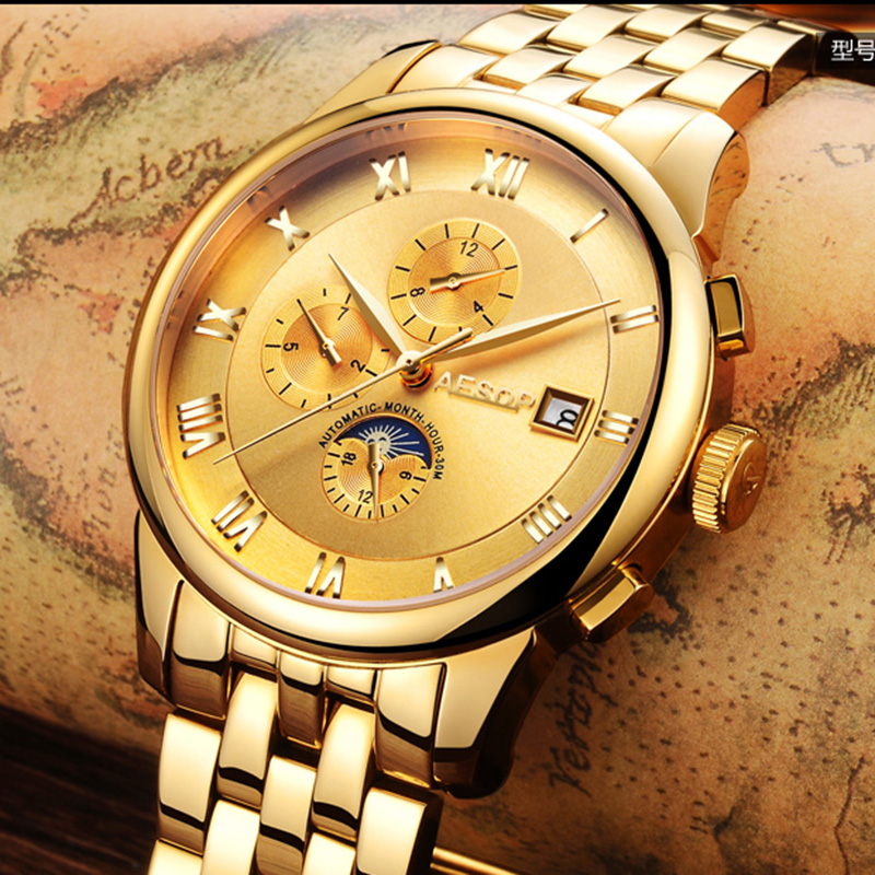 Lunry AESOP watch men Moon Phase waterproof date stainless steel Automatic Mechanical watch relogio masculine luxury moon phase watch men sapphire glass stainless steel waterproof automatic machine date watch relogio masculine