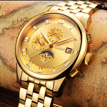 Lunry AESOP reloj hombres Fase Lunar impermeable fecha Mecánico Automático de acero inoxidable reloj relogio masculino