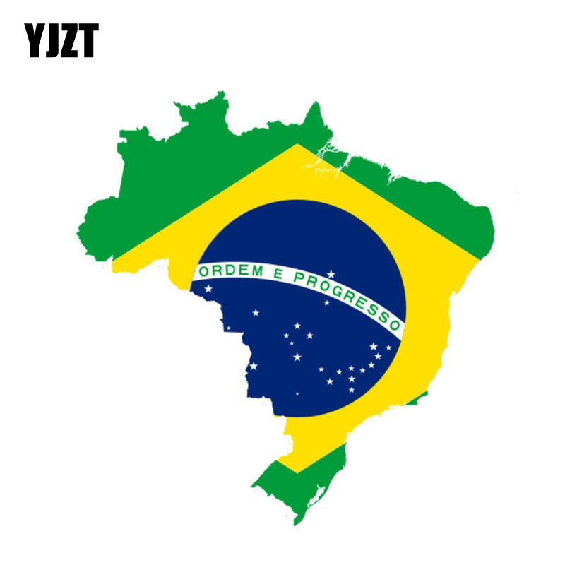 YJZT 15.3CM*14.6CM Car Accessories Brazil Flag Motorcycle Car Sticker Creative Decal 6-0840