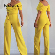 Kakan 2019 new sexy women's jumpsuit straps wide leg jumpsuit short-sleeved yellow jumpsuit with belt недорого