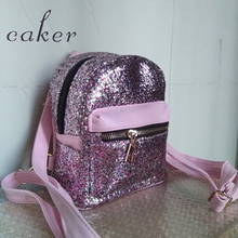 Caker Brand Women Pink Sequined Backpack Black Silver Shoulder Bags Lady Fashion PU Preppy Style Back To School Bags 2017