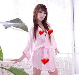 free shipping /Sexy WOMEN Black / Pink BATH ROBE SLEEPWEAR KIMONO/Transparent nightgown (10 pcs/ lot)