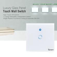 Sonoff T1 1C pared inteligente táctil interruptor de la luz en/interruptor de control remoto inalámbrico WiFi/App/RF 90 V-250 V Panel de vidrio LED enchufe de la UE