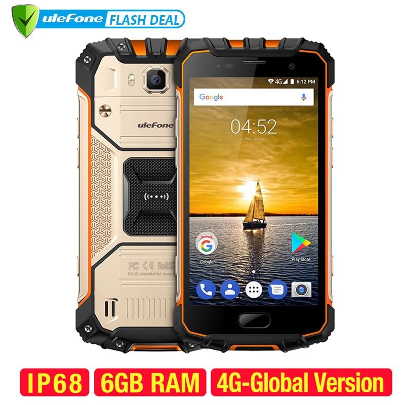 Ulefone Armor 2 impermeable IP68 NFC teléfono móvil 5,0 pulgadas FHD MTK6757 Octa Core Android 7,0 6 GB RAM 64 GB ROM 16MP 4G Smartphone