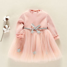 Vestido Infantil 2018 Fashion Dress Toddler Kids Baby Girls Long Sleeve Star Clothes Party Princess Dresses 1St Birthday Gift(China)