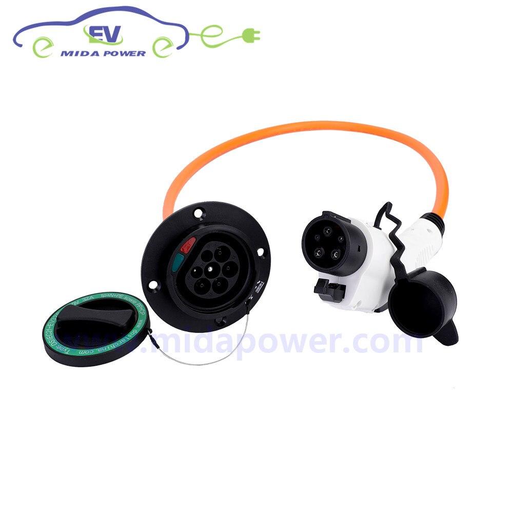 1 M 32Amp Monophasé SAE J1772 Plug Type 1 à Type 2 Mâle Prise EV câble de charge EV Adaptateur Connecteur voiture chargeur ev