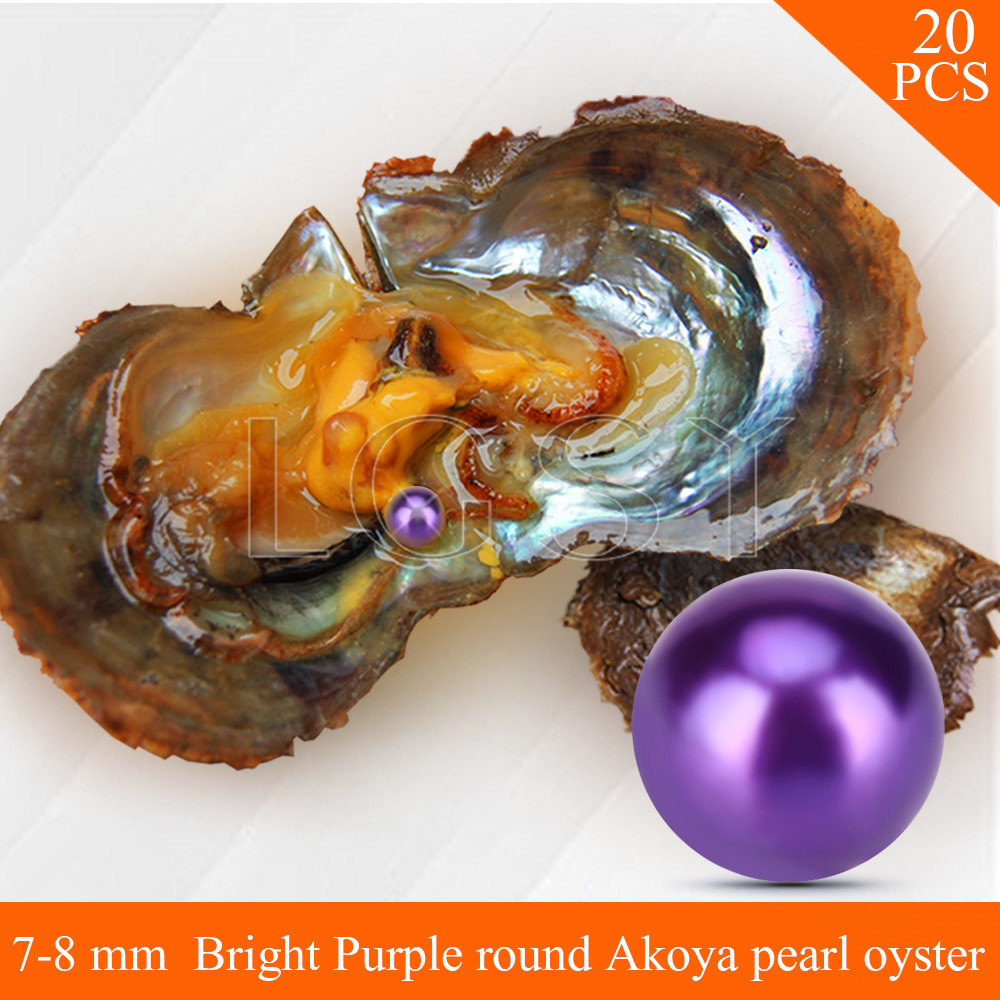 LGSY FREE SHIPPING Bead Bright purple 7-8mm round Akoya pearl in oysters with vacuum package for women jewelry making 20pcs free shipping bead bright purple 7 8mm round akoya twin pearls in oysters with vacuum package for women jewelry making 20pcs